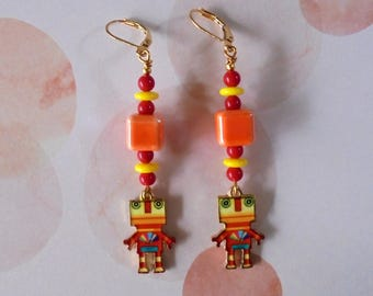 Orange, Red and Yellow Robot Boho Earrings (4272)