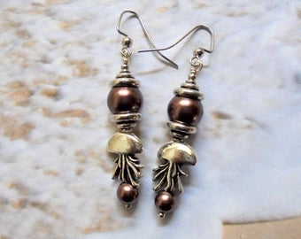 Brown Pearl and Silver Jellyfish Earrings (3473)