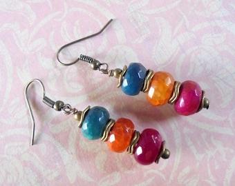 Pink, Orange and Teal Blue Stone Earrings (4081)