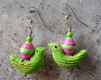 Green, Pink and Violet Bird Boho Earrings (4304)