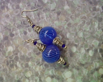 Blue Hollow Glass Earrings (1632)