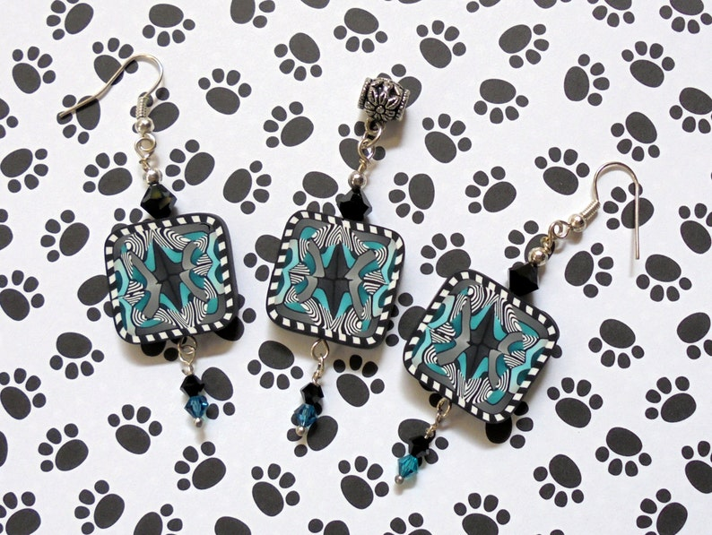 0592 White and Teal Pendant and Earrings Black
