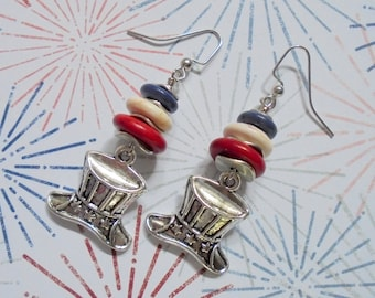 Red, White and Blue Patriotic Uncle Sam Hat Earrings (3678)
