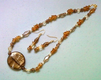 Brown, Honey Gold and Orange Necklace and Earrings (0912)