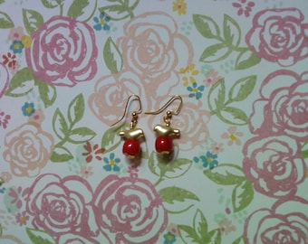 Red and Gold Bird Earrings (2147)