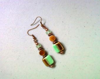 Brown and Seafoam Green Earrings (1396)