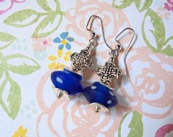 Blue and White Polka Dot Earrings (2374)