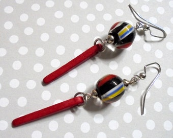 Red, Black, Blue, White and Yellow Dagger Earrings (2901)