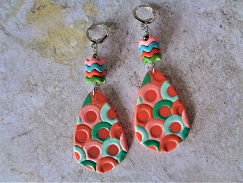 7225 Pink Orange Aqua and Green Boho Earrings