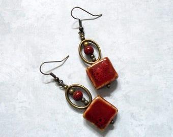 County Red Ceramic Boho Earrings (3738)