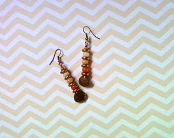 Copper, Brown and Beige Earrings (2258)