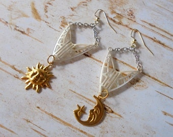 Silver and Gold Art Deco Sun and Moon Earrings (4479)