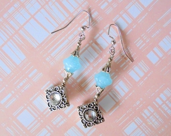 Light Blue, Silver and Crystal Earrings (4393)