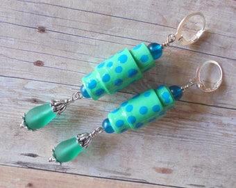 Aqua and Teal Polka Dot Boho Earrings (4269)