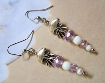 Lavender, White and Silver Jellyfish Earrings (3462)