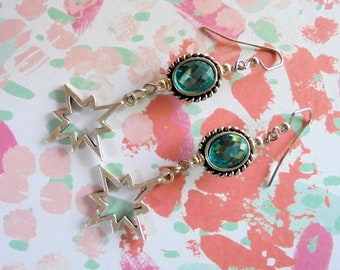Sapphire Blue and Silver Star Earrings (4401)