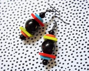 Black, Red, Lime Green, Orange and Aqua Blue Geometric Boho Earrings (3794)