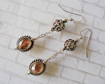 Peachy Pink and Silver Earrings (4378)