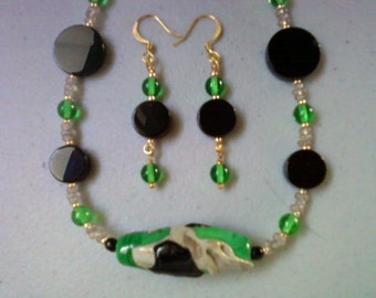 Green, Black and Taupe Necklace and Earrings (0664)