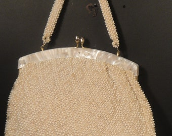 Handmade Cream Beaded Ladies Purse Pearl Top Frame Kiss-lock Closure