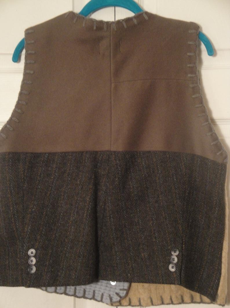 Made in U.S.A. BAABAAZUZU original patchwork wool vest size L recycled handmade