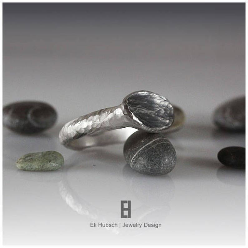 hand forged and shaped BLACK SIGNET RING Pure silver