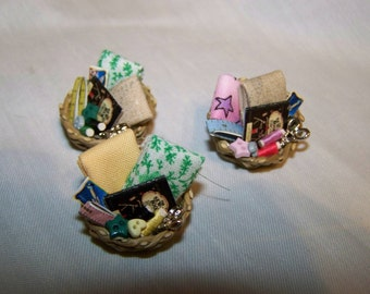 DOLLS HOUSE MINIATURES  - 1/12th Sewing Basket