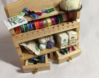 Dolls House Miniatures - 1/12th Sewing Shelf - Pine