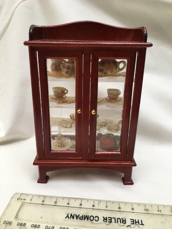 Dolls House Miniatures Cherry Short, Short China Cabinet