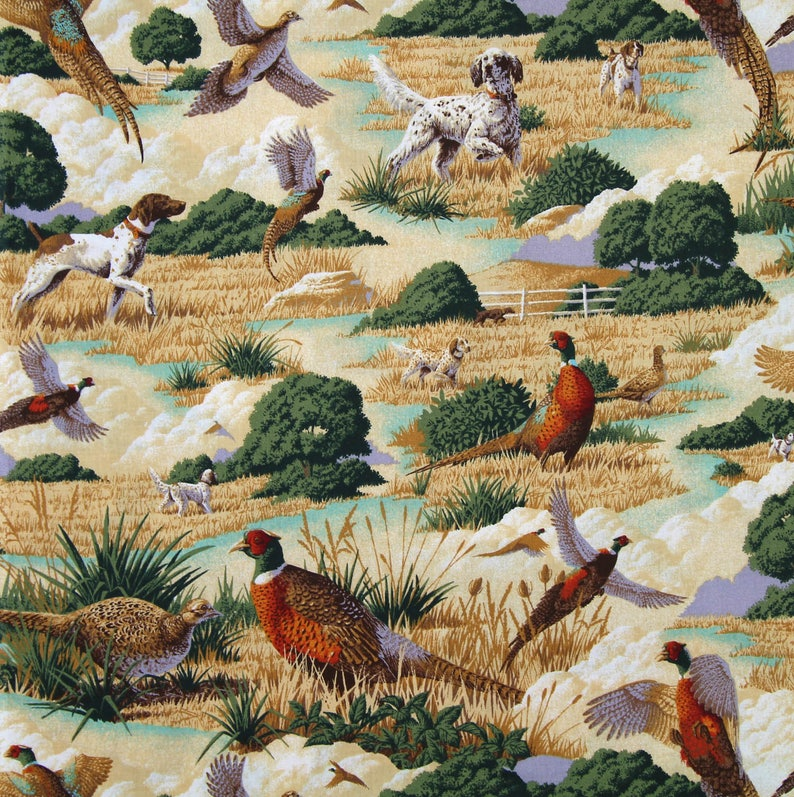 Pointers*Setters Dog Fabric/Pheasant Fabric/Craft Supplies and Tools/Fabric  & Notions/Fabric/Hunting Dogs/Pointer Lover Gift/Pheasant Print