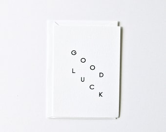 Good Luck - Single Letterpress Note Card