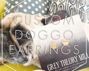 Custom Hand Stamped Earrings, Personalized Earrings, Geometric Earrings, Inside Joke Gift Gifts Under 50 Stud Earrings Funny Jewelry for her