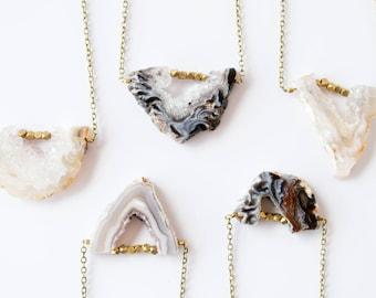 Druzy Necklace, Druzy Jewelry, Agate Slice Necklace, Agate Slice Pendant, Freeform Agate Jewelry Geode Necklace Boho Necklace Gypsy Necklace