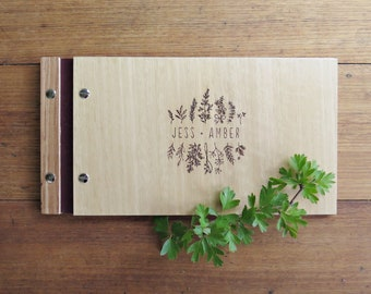 Wedding Guest Book, Wildflower Wedding, Outdoor Wedding Guest Book, Engraved Wood Guest Book, Small Wedding Book