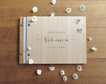 Wedding Guest Book, Handwritten Cursive, Engraved Wood Signing Book, Romantic Wedding Shower Gift