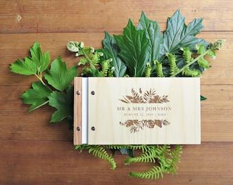 Wedding Guest Book, Wedding Ferns Foliage, Bali Wedding, Engraved Wood Guest Book, Wedding Shower Gift.