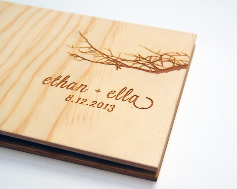 Australian Boab Wedding Guest Book Wood Guestbook Small image 0