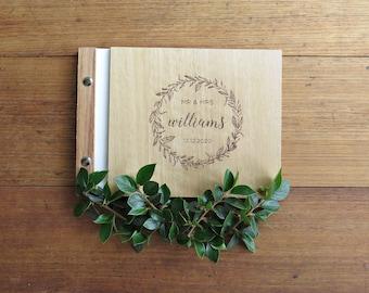 Wedding Wreath Guest Book, Outdoor Wedding, Microwedding Guest Book, Wood Guest Book.