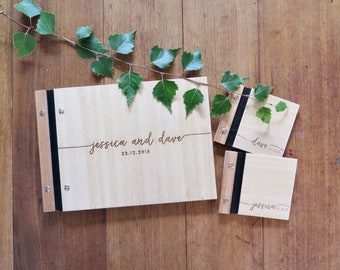 Wedding Guest Book, Wedding Vows Book, Handwritten, Engraved Wood Wedding Book, Modern Calligraphy, Wedding Shower Gift.