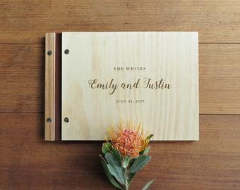 Wedding Guest Book, Wedding Signing Book, Romantic Calligraphy Wedding Book, Unique Guest Book Wooden.