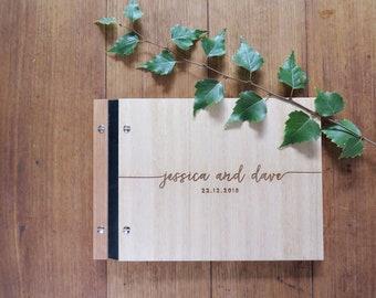 Wedding Guest Book, Handwritten Modern Calligraphy, Engraved Wood Guest Book, Wedding Guest Book for Signing, Wedding Shower Gift.