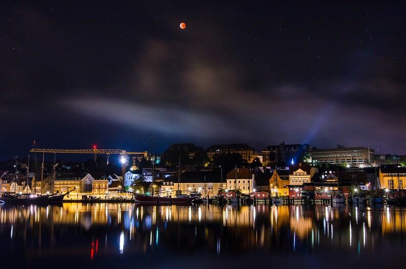 Blood moon above Flensburg harbour  Fine Art Landscape image 0