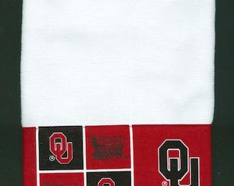 OU Sooners Hand Towel, Oklahoma University kitchen dish handmade white,  16 x 26