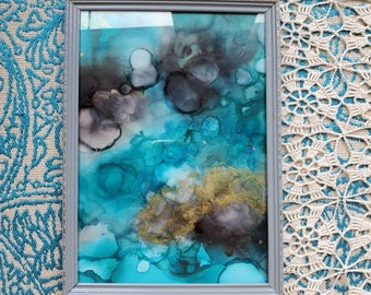 Framed Alcohol Ink Painting