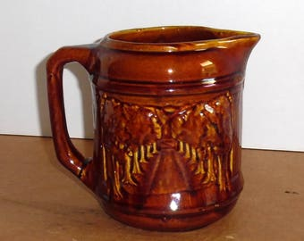 Vintage  McCoy Pottery Water Pitcher Juice Carafe Kitchenware Water Pitcher Earth Tones Brown Drip Glaze American Art Pottery