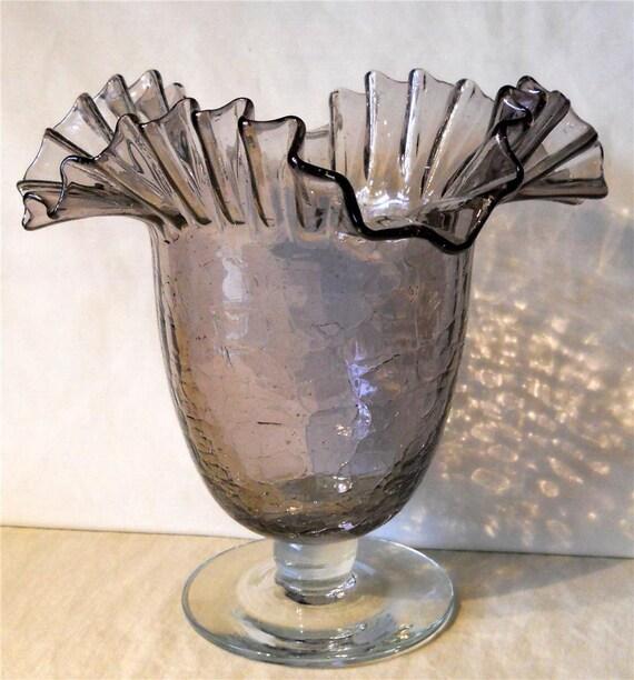 Vintage Blenko Amethyst Crackle Glass Ruffled Vase Lavender Etsy