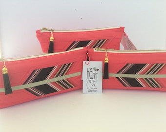 """HE.art by CC """"STRUCK"""" zippered pouch, Melon Color Lipstick (Listing is for one pouch)"""
