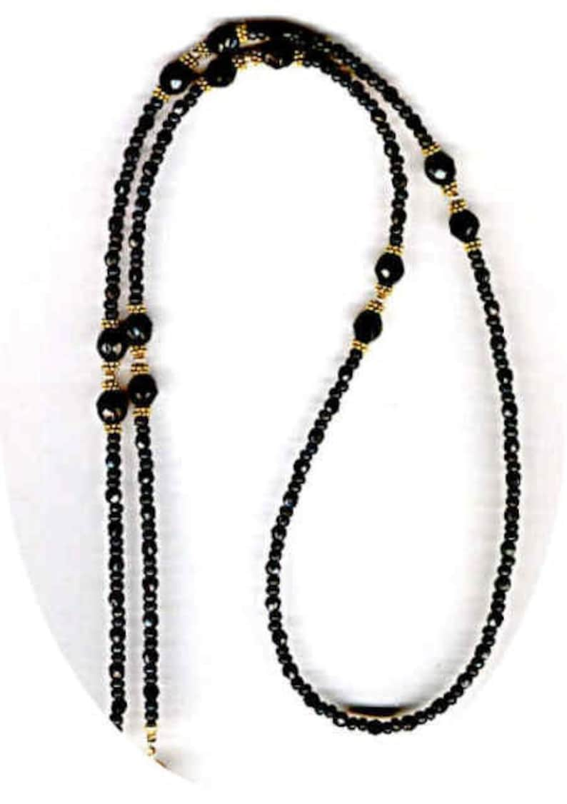 Unisex Classic Jet Black Faceted Beads and Precious Metal Beaded ID Badge Lanyard or Eyeglass Chain