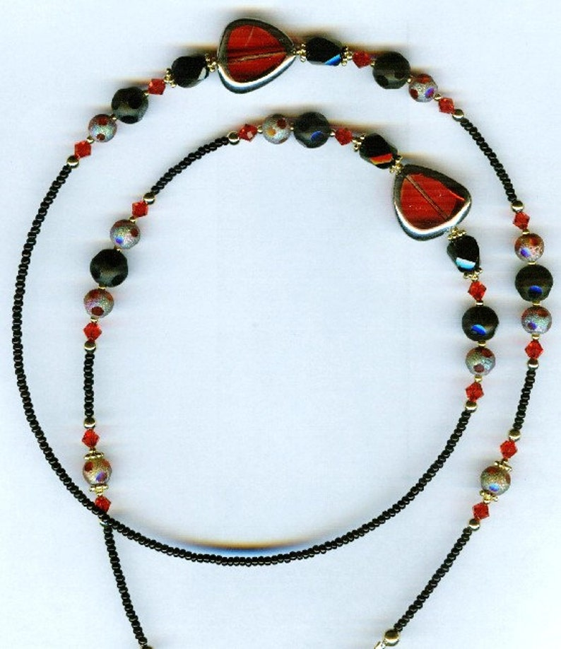 Gorgeous Red with Glittery Red /& Black Glass Beaded Eyeglass Chain or ID Badge Lanyard