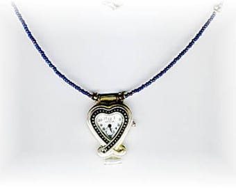 Silver Heart and Bali Silver Bead One of a Kind Watch Necklace!